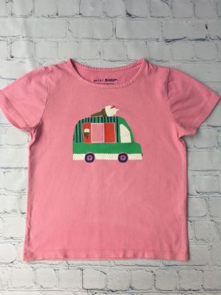 Mini Boden pink ice cream van top with gold sparkly ice cream cone age 6-7